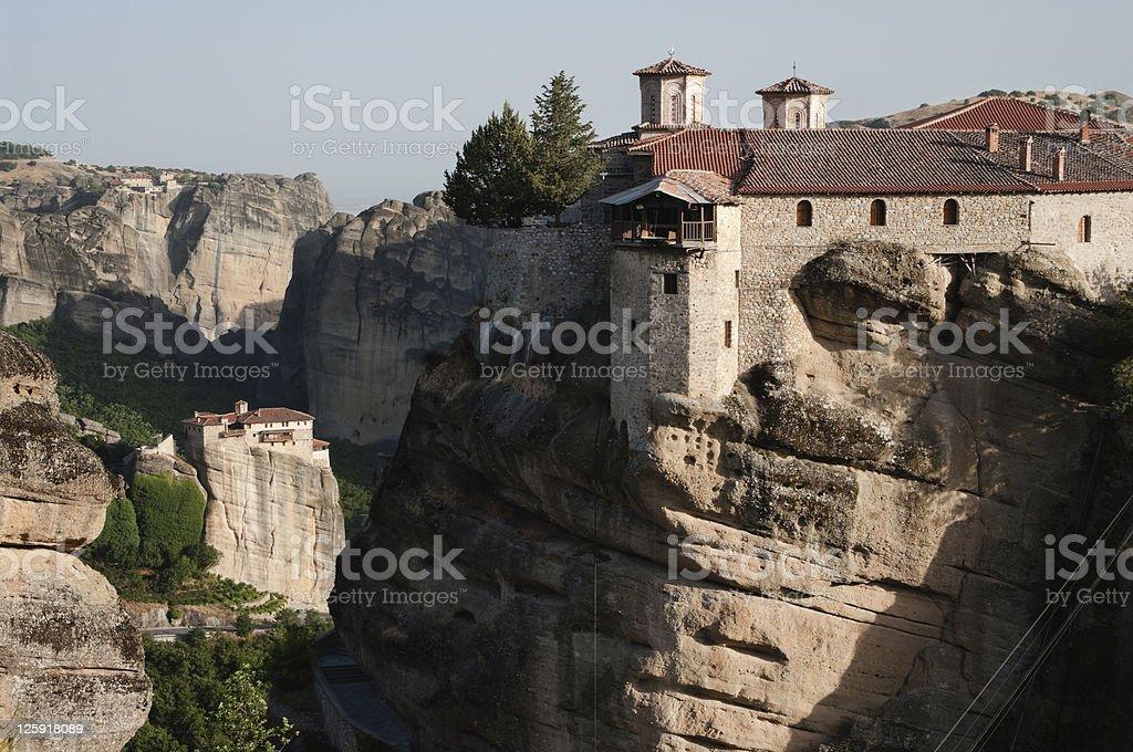 two Monasteries on rock Meteora royalty-free stock photo