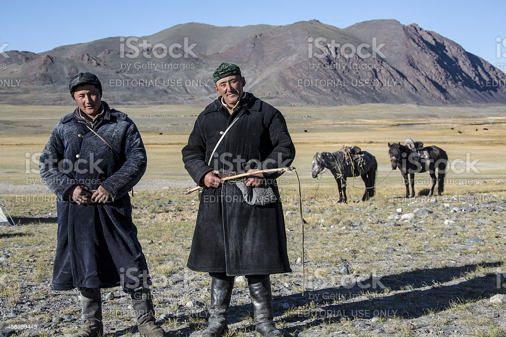 Two mongolian nomads stock photo
