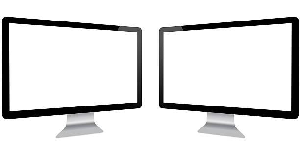 dois monitores conceito de produtividade - dois objetos - fotografias e filmes do acervo