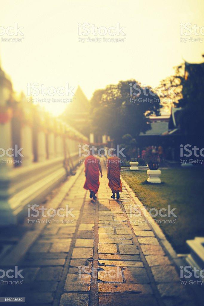 Two Monks walking at sunset royalty-free stock photo