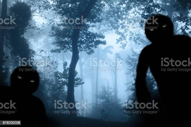 Two monsters in misty forest landscape picture id876200208?b=1&k=6&m=876200208&s=612x612&h=dcaalwmdzxinxxu8c7c9o4nkaycdws2dicdnp0krtum=