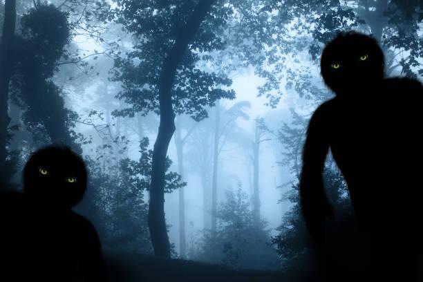 Dois monstros na paisagem de floresta enevoada - foto de acervo