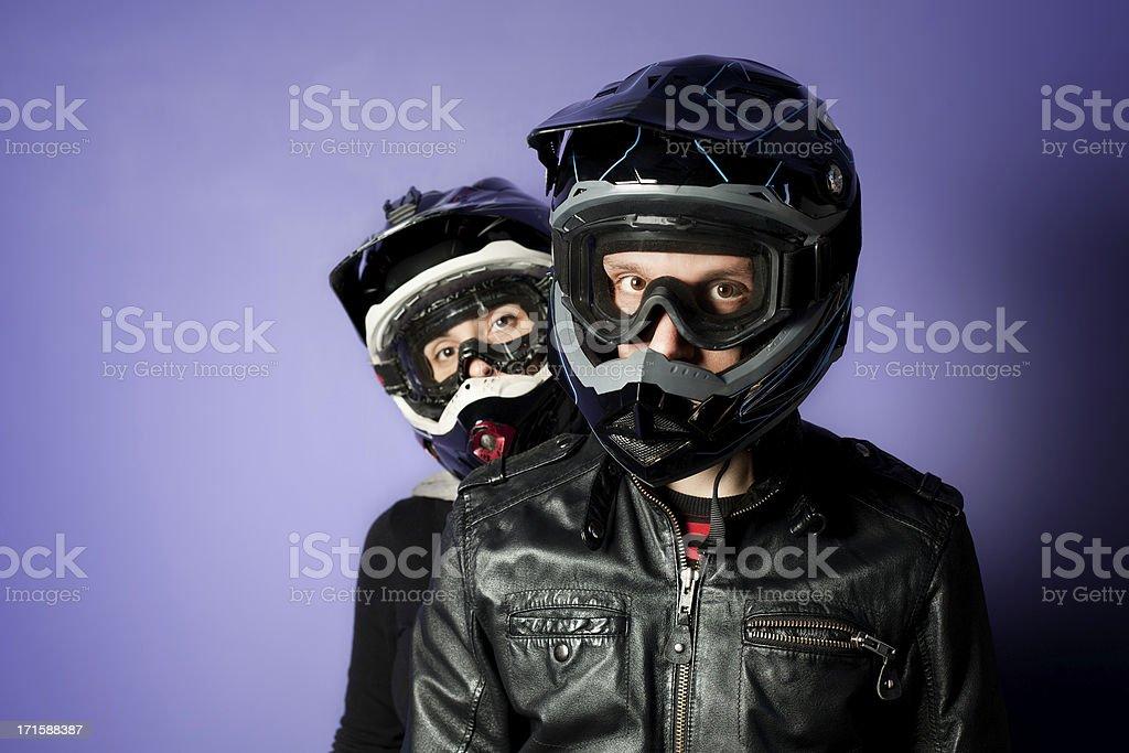 Two Motocross Motorbike Rider with Enduro Helmet royalty-free stock photo