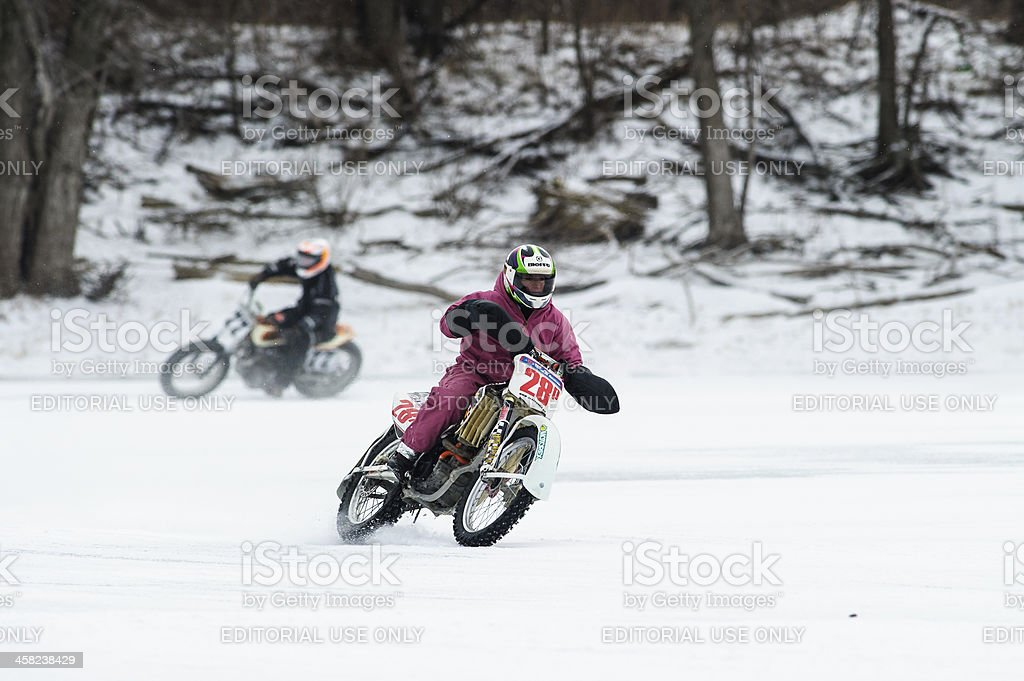 Two motorcycle ice racers royalty-free stock photo