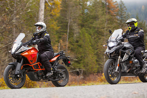 Two motorcycles on a backroad in Idaho. stock photo