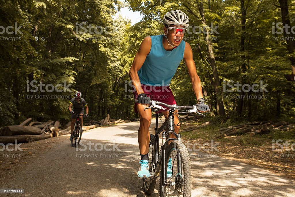 Two mountain bikers stock photo