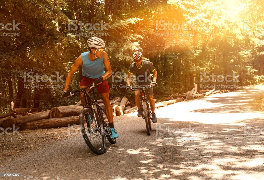 Two mountain bikers riding bike in the forest on dirt road. stock photo