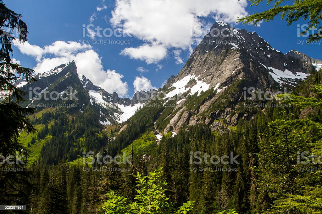 Two Mountain Peaks in the Cascade Range stock photo