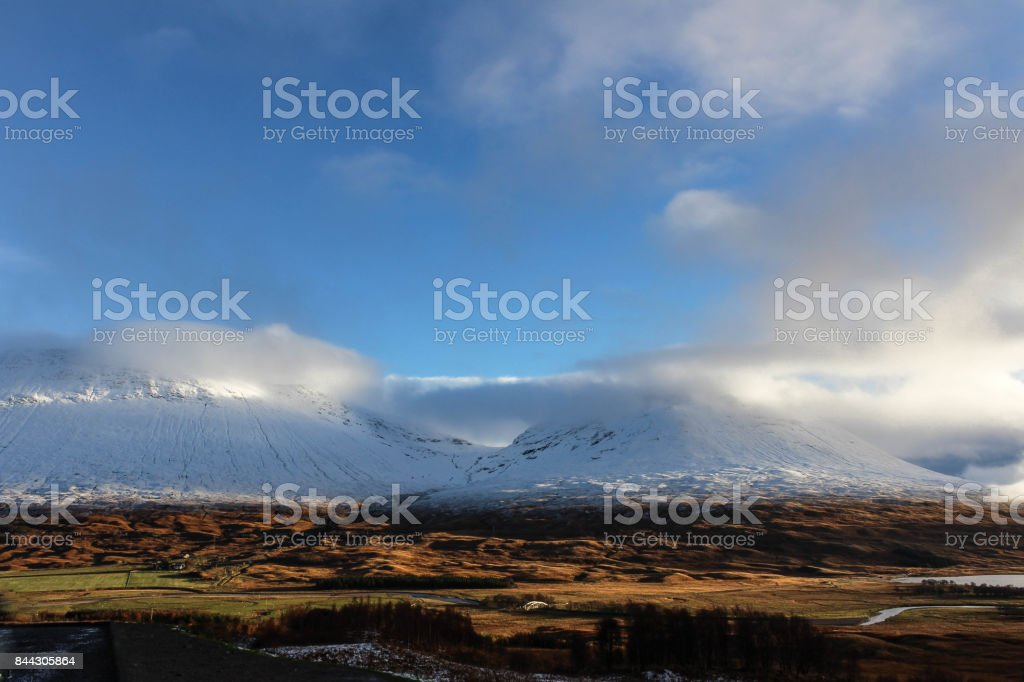 Two Mountain Peaks in the Scottish Highlands stock photo