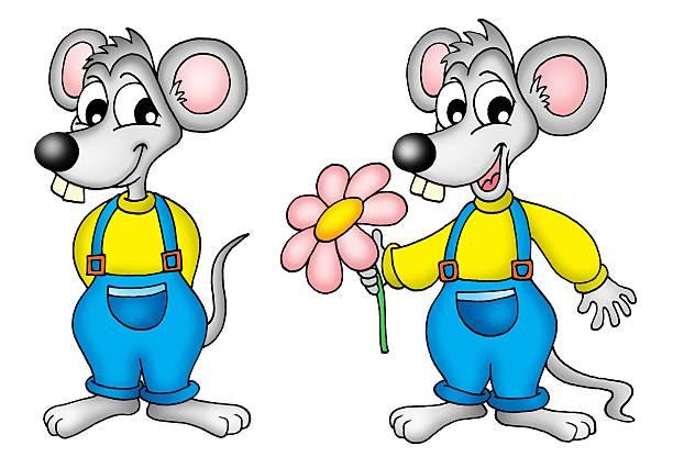 zwei mouses mit blume - maus comic stock-fotos und bilder