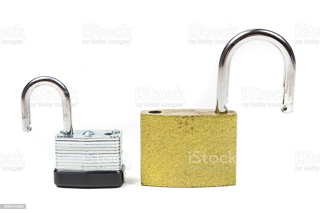 Two multicolored padlocks isolated on white background stock photo