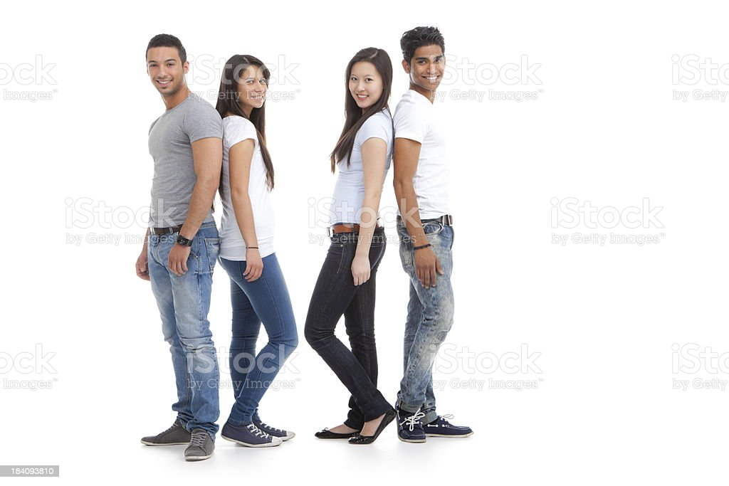 two multicultural couples royalty-free stock photo