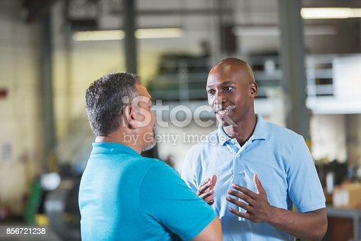 istock Two multi-ethnic workers in a workshop talking 856721238
