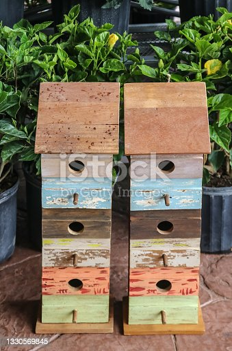 istock Two multi-story homemade-looking birdhouses for sale beside potted hibiscus plants in the springtime 1330569845