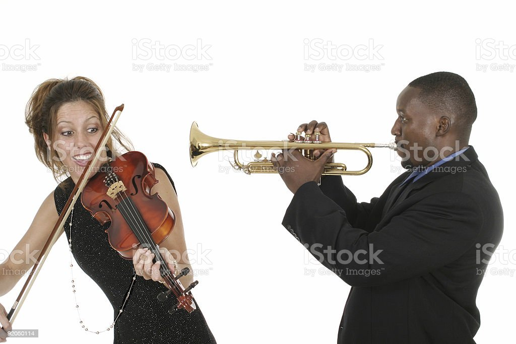 Two Musicians Play Around royalty-free stock photo
