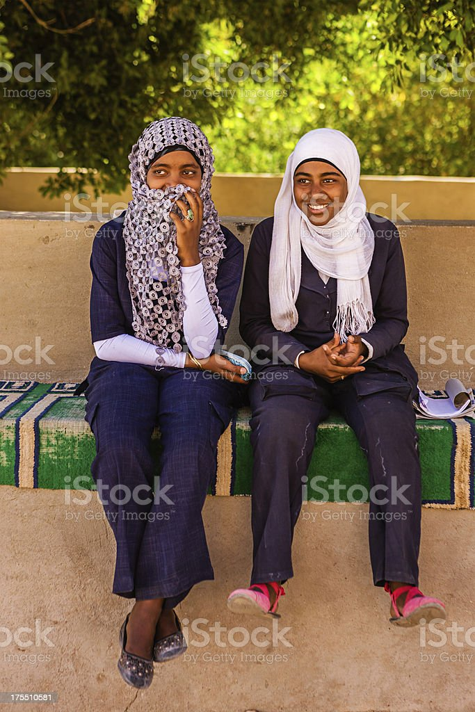 Two Muslim female students in Southern Egypt stock photo