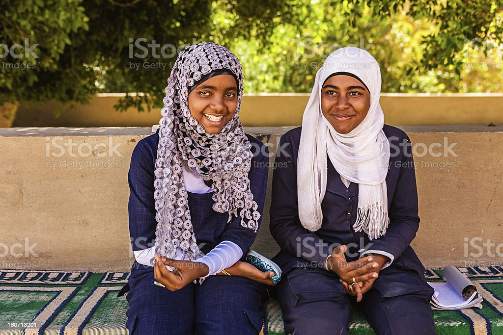 Two Muslim female students in Southern Egypt royalty-free stock photo