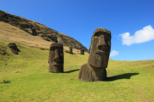 Two mysterious Moai statues on the hill in Easter Island