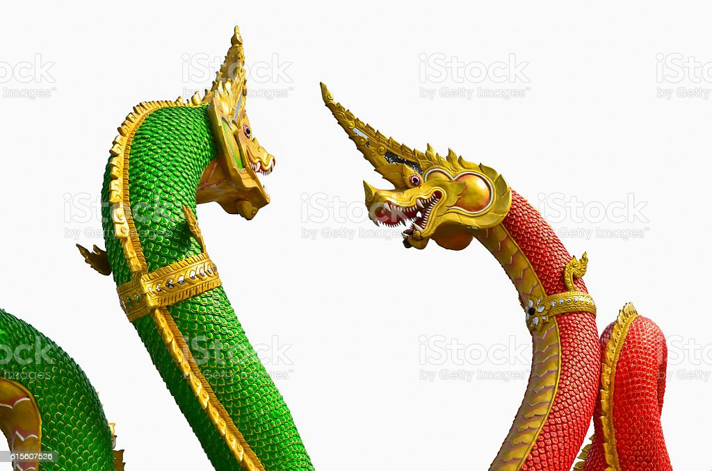 Two Naga statue with red and green colors. stock photo