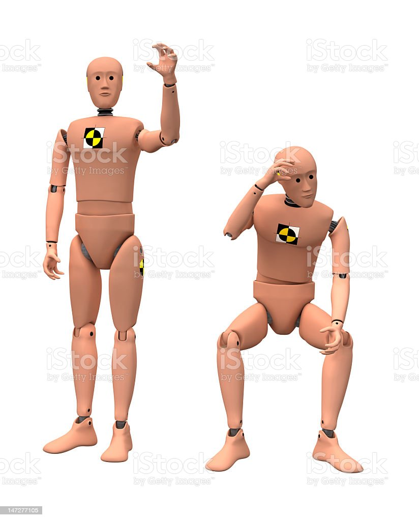 Two naked crash dummies one standing and one crouching stock photo