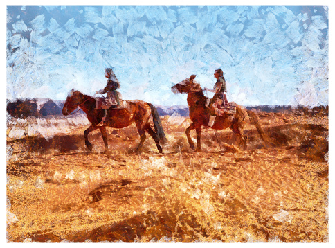 Two Navajo sisters on horses in Monument Valley Arizona USA