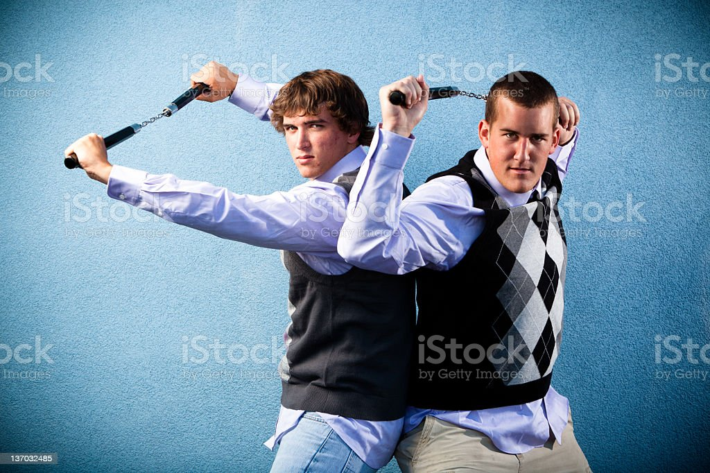 Two nerds. royalty-free stock photo