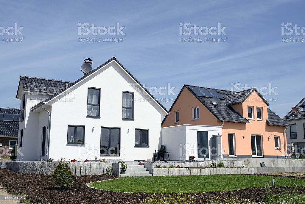 Two new basic family houses stock photo