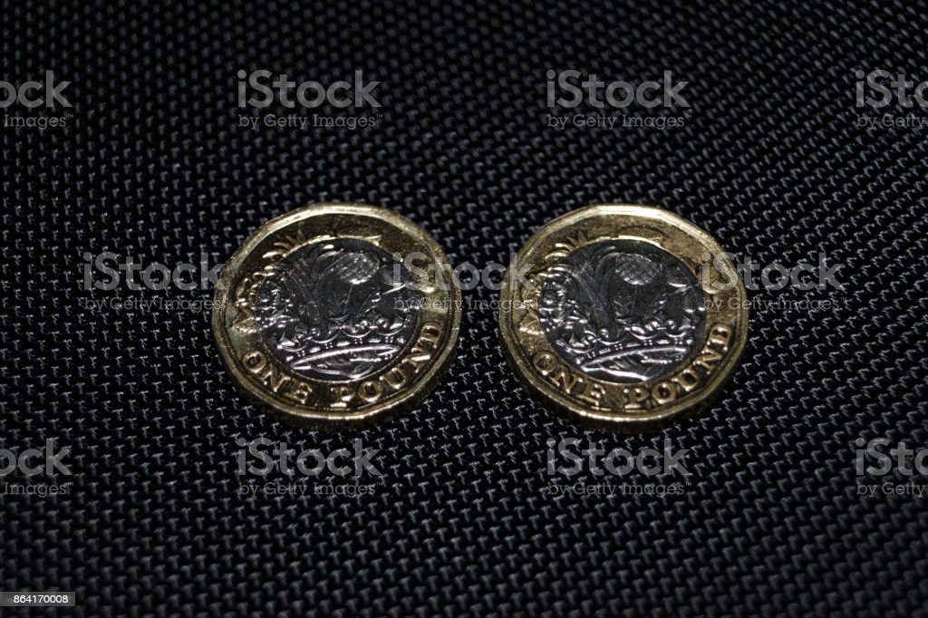 Two new one pound coins royalty-free stock photo