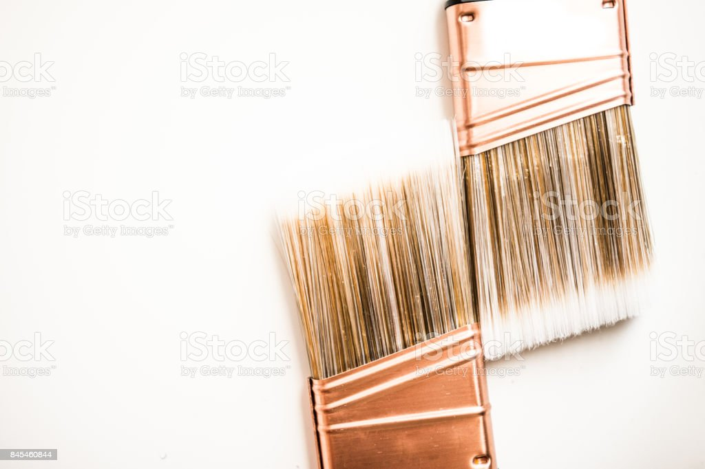 Two new paintbrushes stock photo