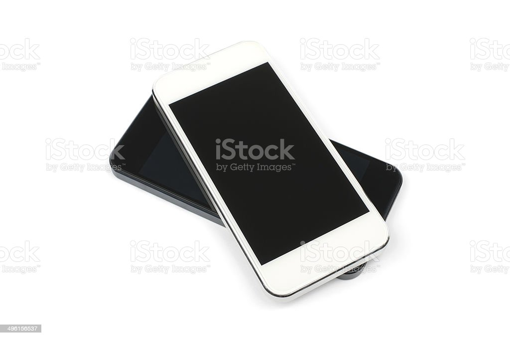 Two new smartphone (white and black) stock photo