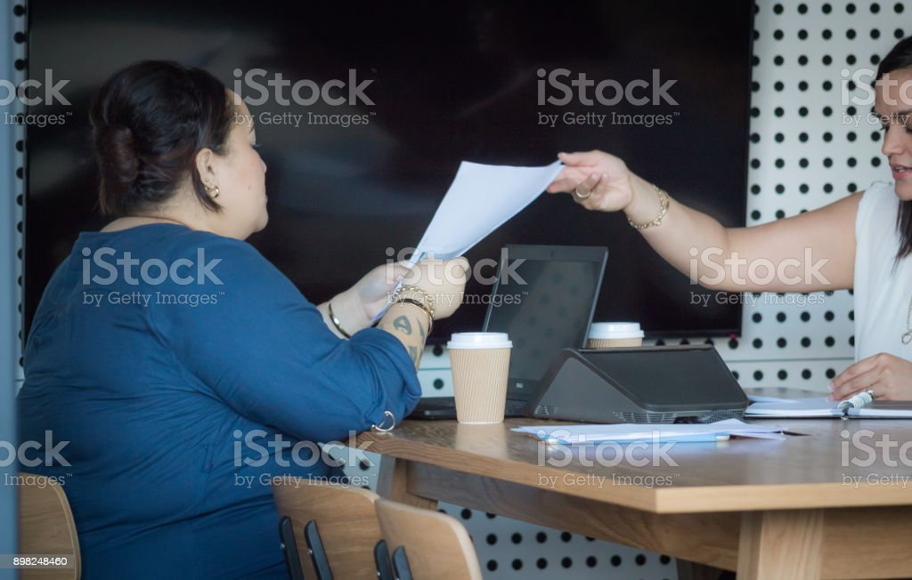 Two New Zealand business woman working together in an office environment. stock photo