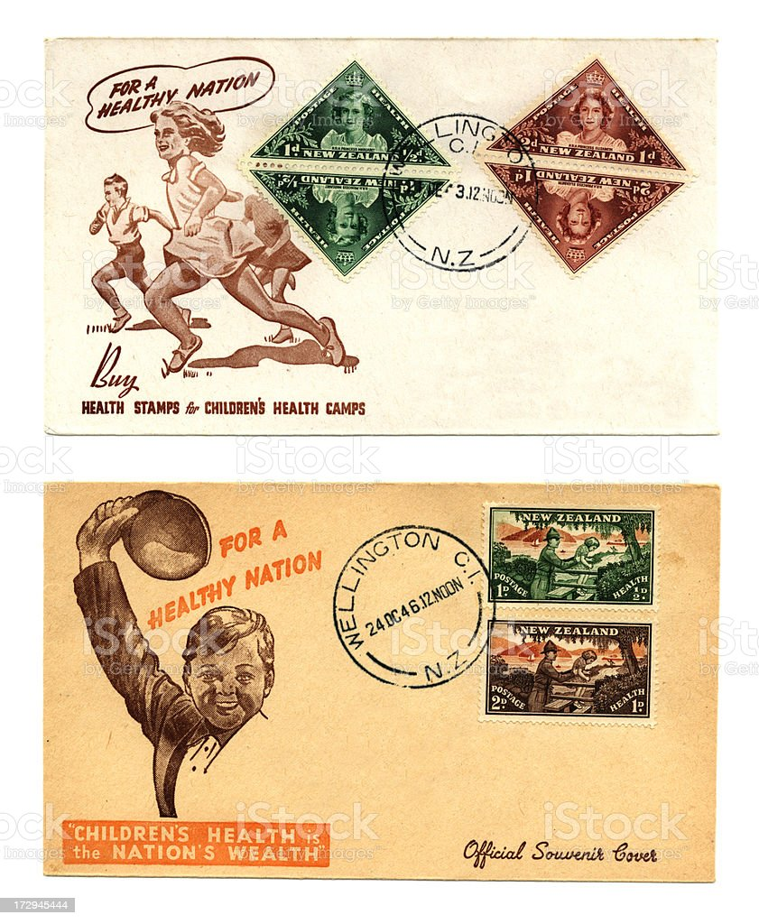 Two New Zealand envelopes royalty-free stock photo