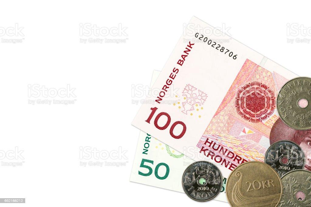 Zwei Norwegische Krone Banknoten Und Münzen Stockfoto Istock