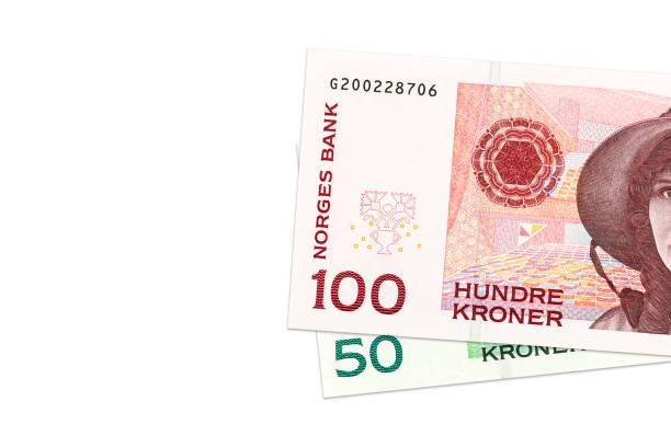 two norwegian krone bank notes – Foto