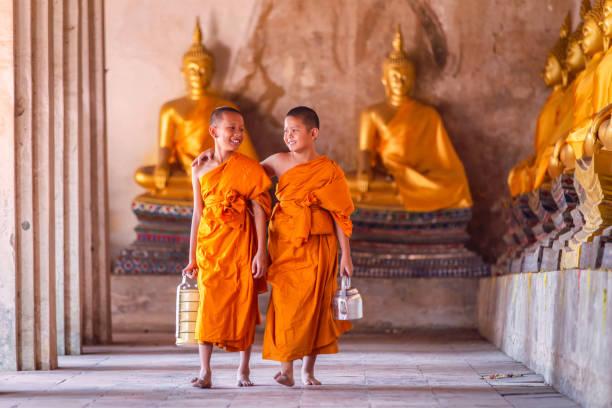 zwei novizen mönch gehen und sprechen im alten tempel - nepal tibet stock-fotos und bilder