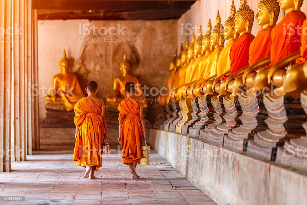 Two novices walking return and talking in old temple stock photo