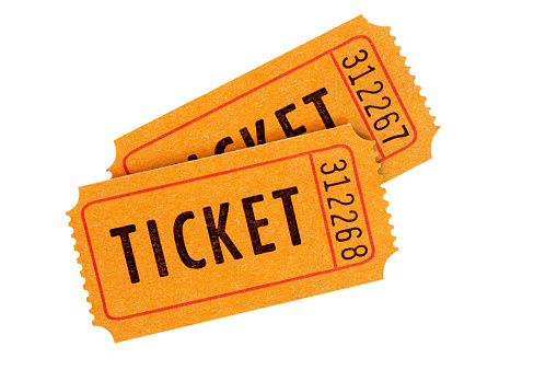 Two numbered orange admission tickets