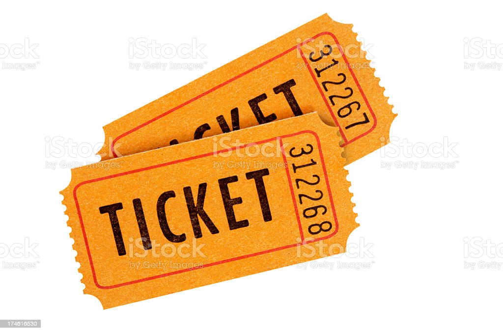 Two numbered orange admission tickets stock photo