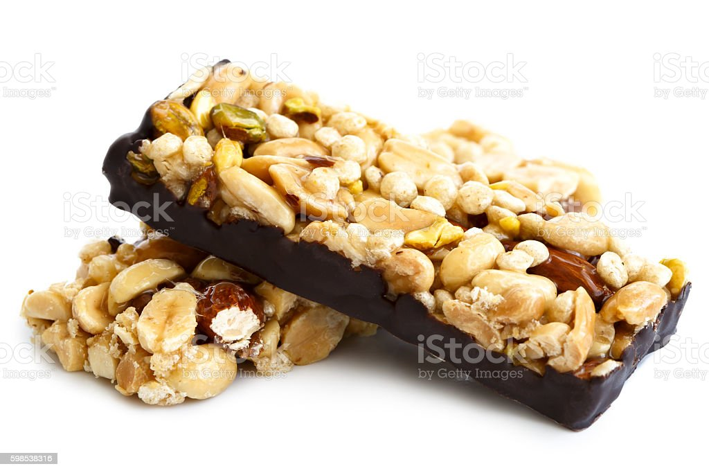 Two nut bars isolated on white. photo libre de droits