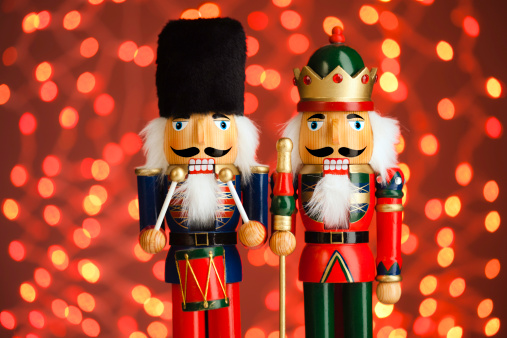 Two Nutcrackers with Red Lights