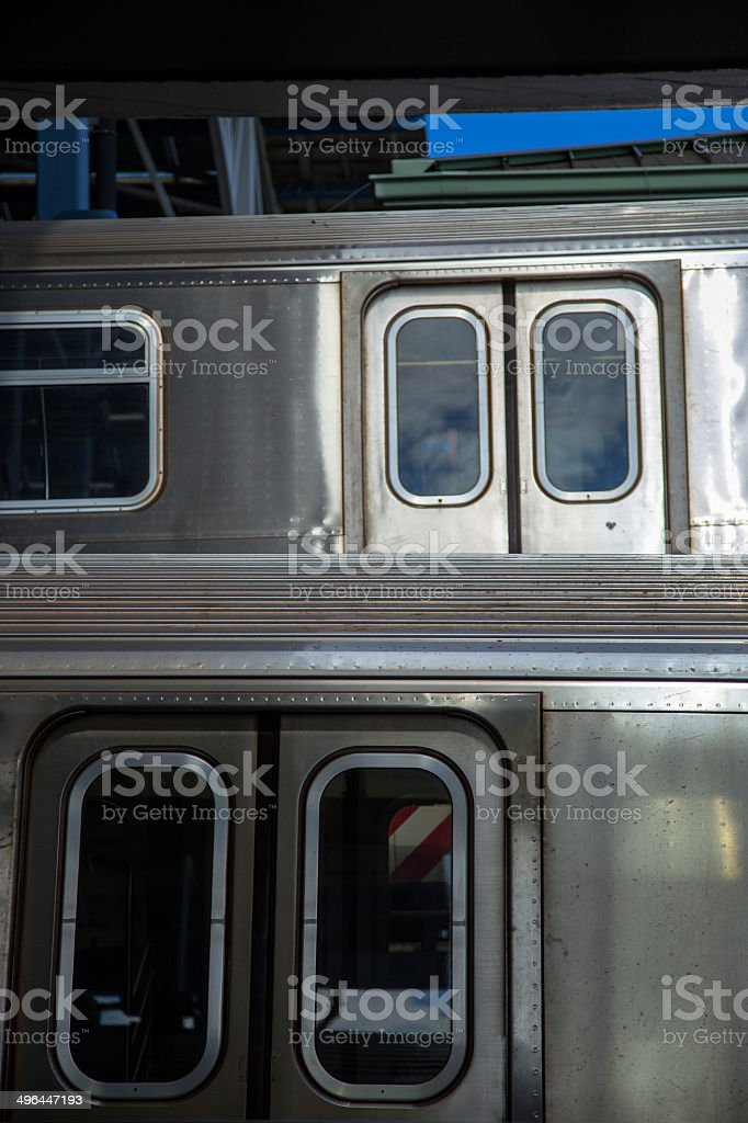 Two NYC Subway Trains Passing royalty-free stock photo