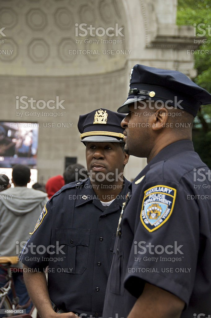 Two NYPD Auxiliary Police officers in Central Park, NYC stock photo