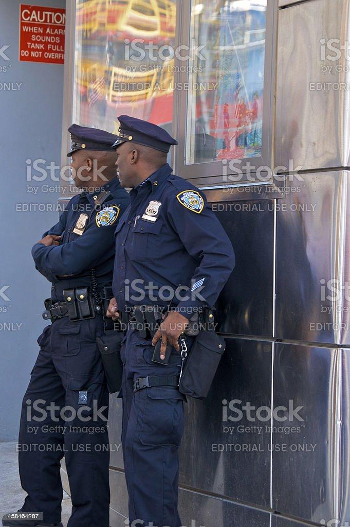 Two NYPD Patrol officers near Ground Zero, Manhattan, NYC stock photo