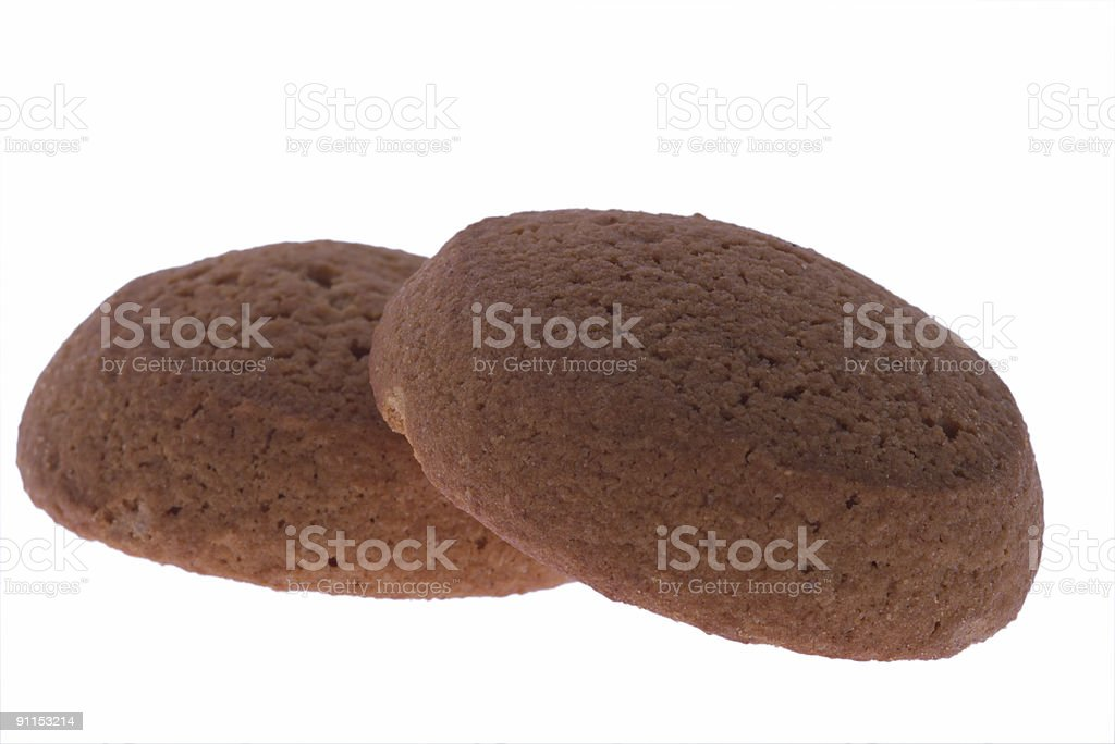 two oatmeal cookies royalty-free stock photo