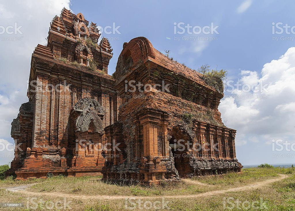Two of five Banh It Cham towers on the hill. stock photo