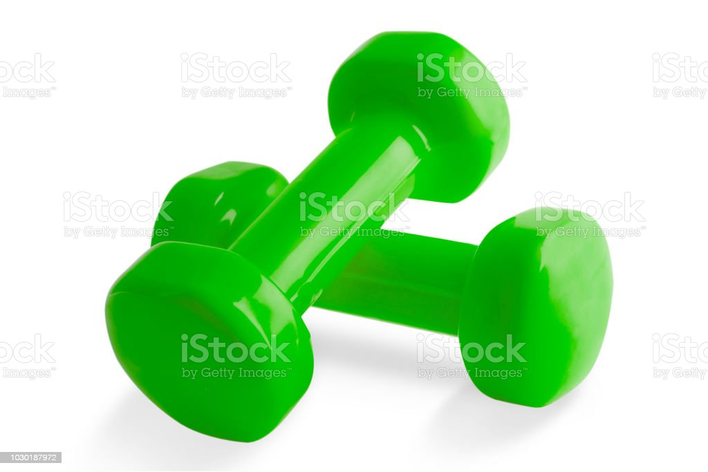 Two of green dumbbells, Isolated on white background. stock photo