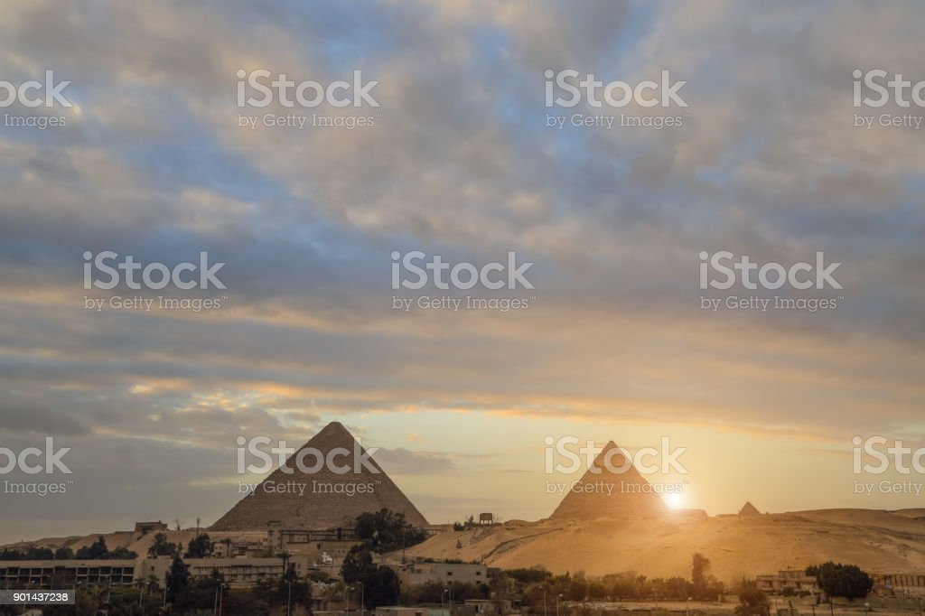 two of the pyramids  in Cairo, Egypt stock photo