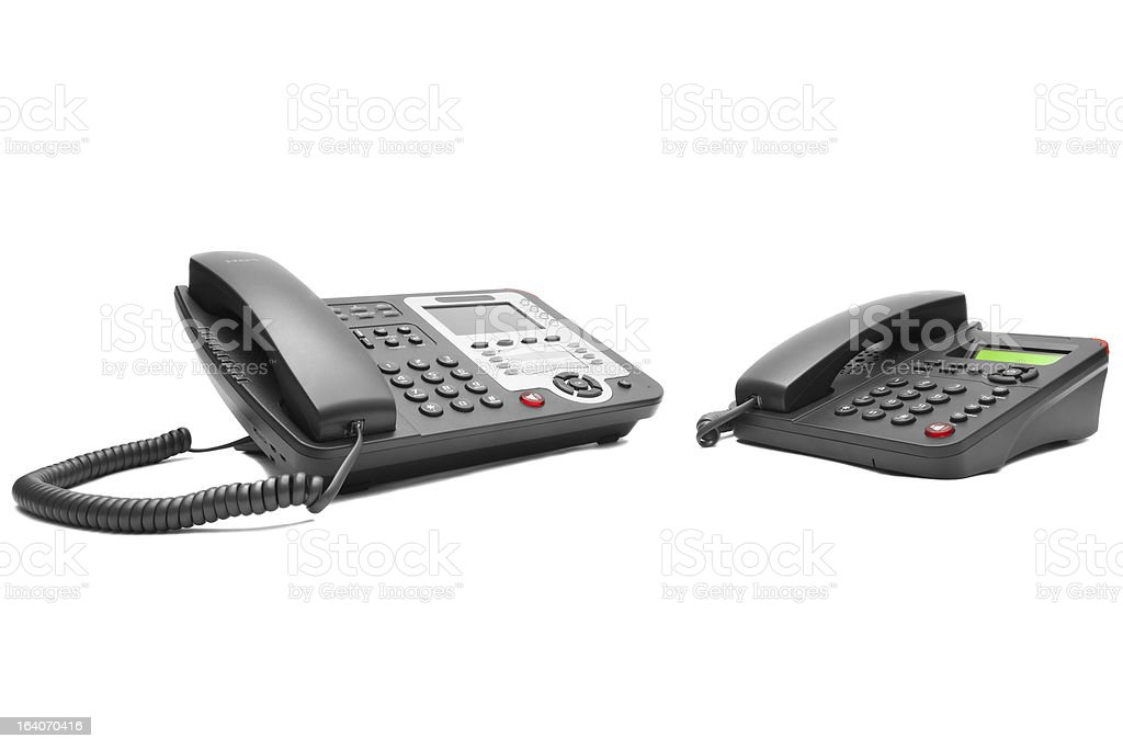 Two office phone stock photo