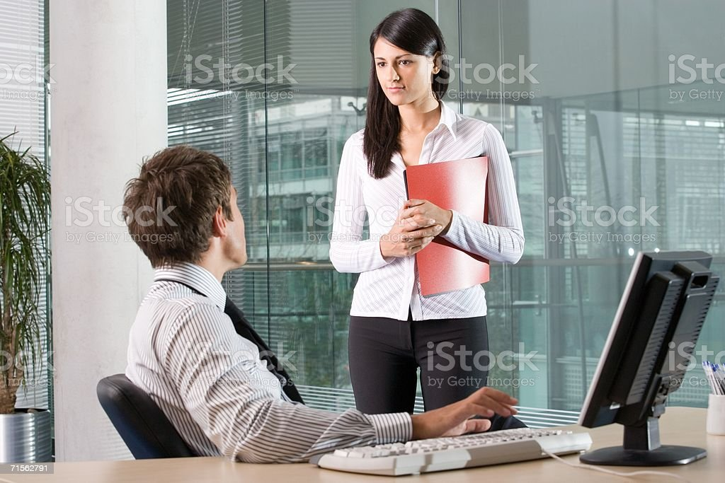 Two office workers royalty-free stock photo