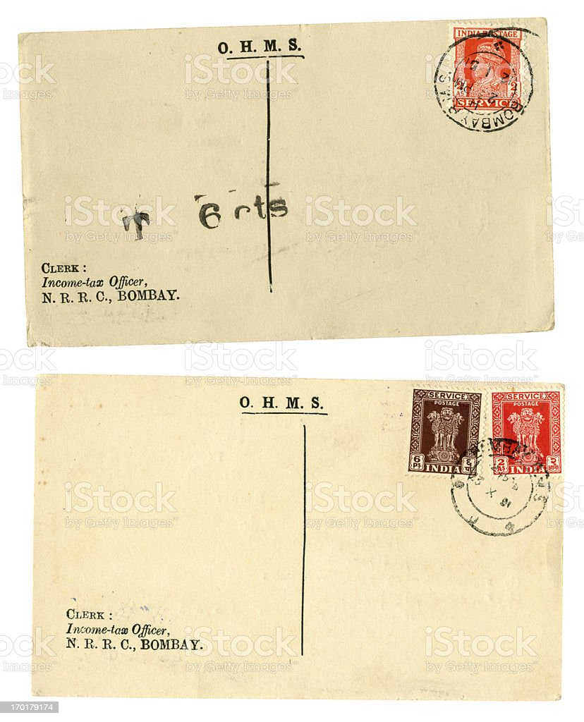 Two OHMS post cards from Bombay, India, 1951 royalty-free stock photo
